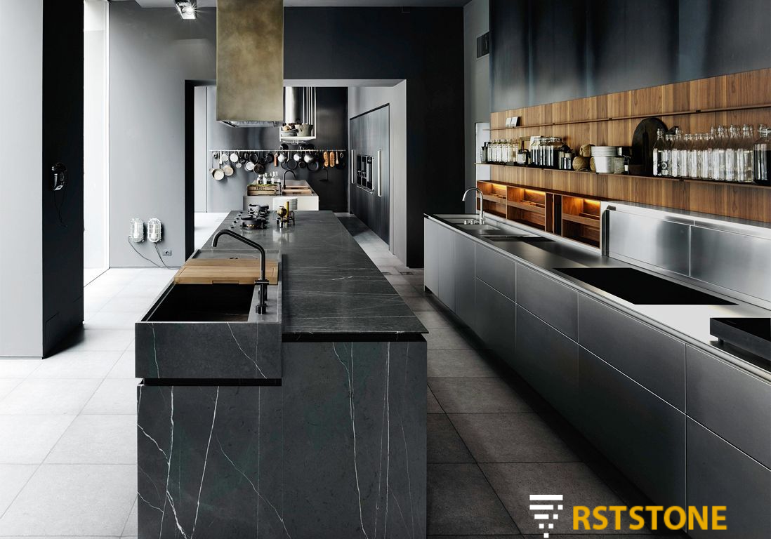 Black marble tile countertops