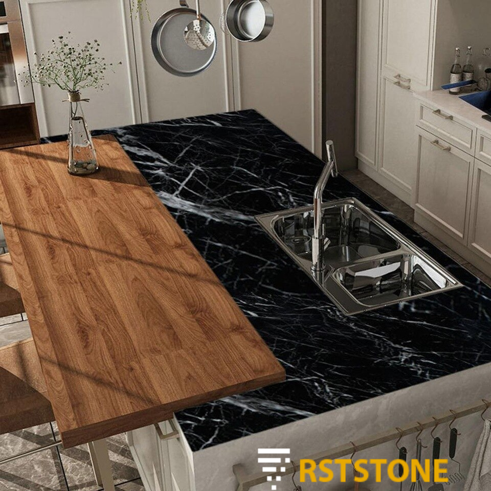 Black marble tile countertops